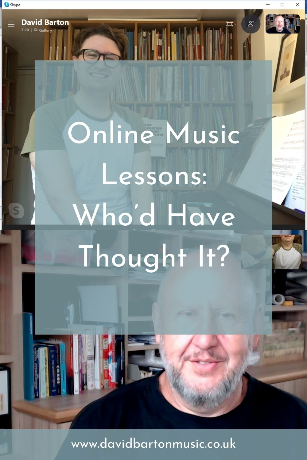 Online Music Lessons: Who'd Have Thought It? Pinterest Graphic.