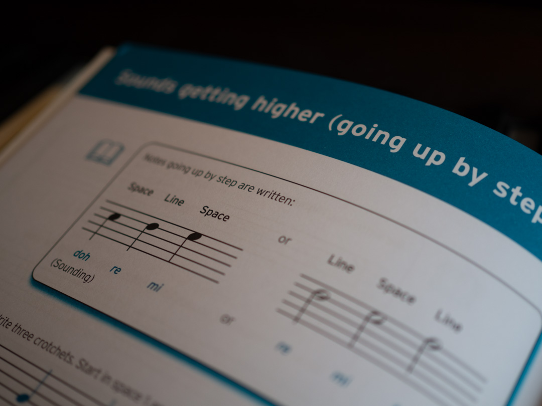 Introducing Theory of Music - pitches getting higher and going up by step