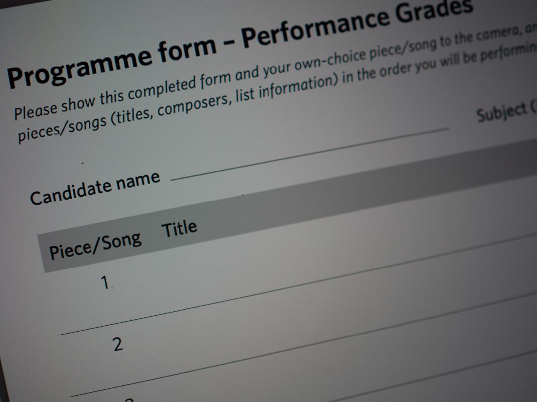 ABRSM Performance Grades Programme Form