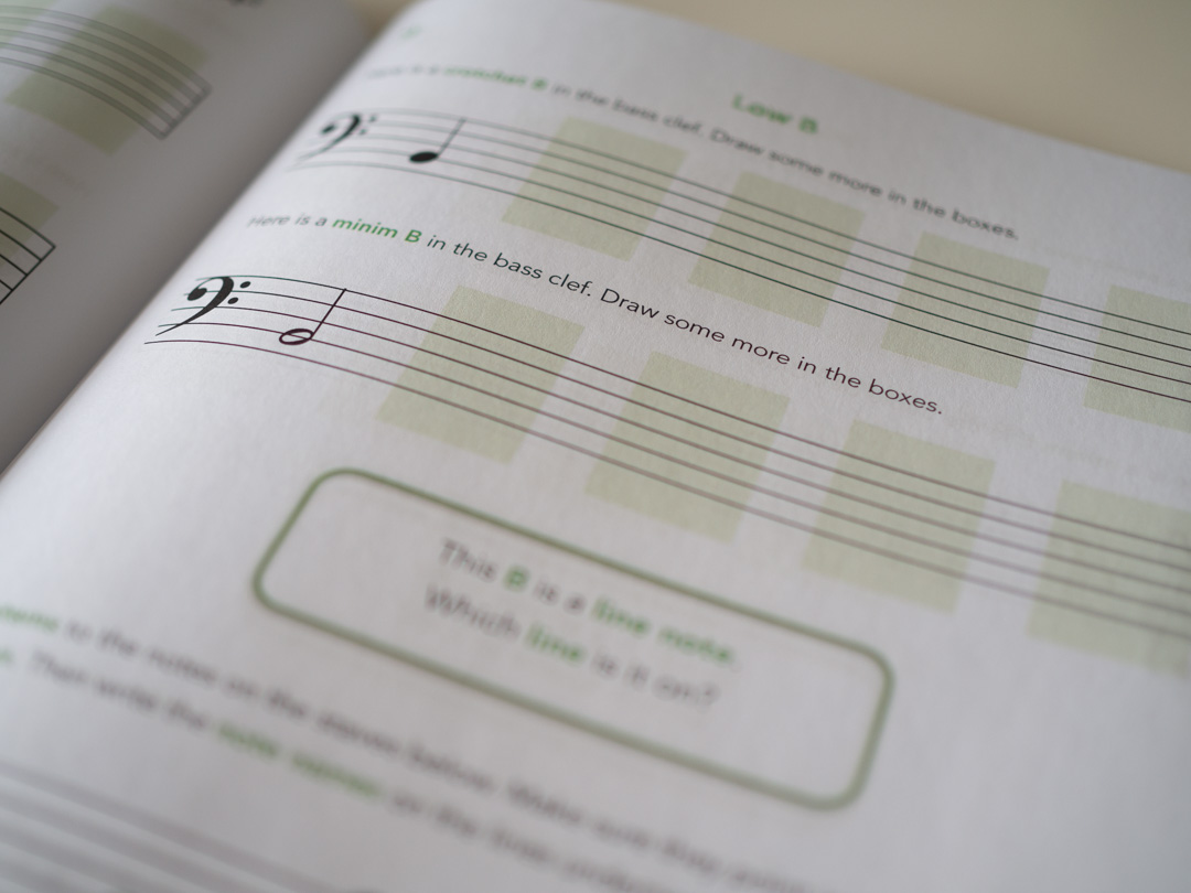 The Piano Tracks Book of Note Names - image of a page from the book