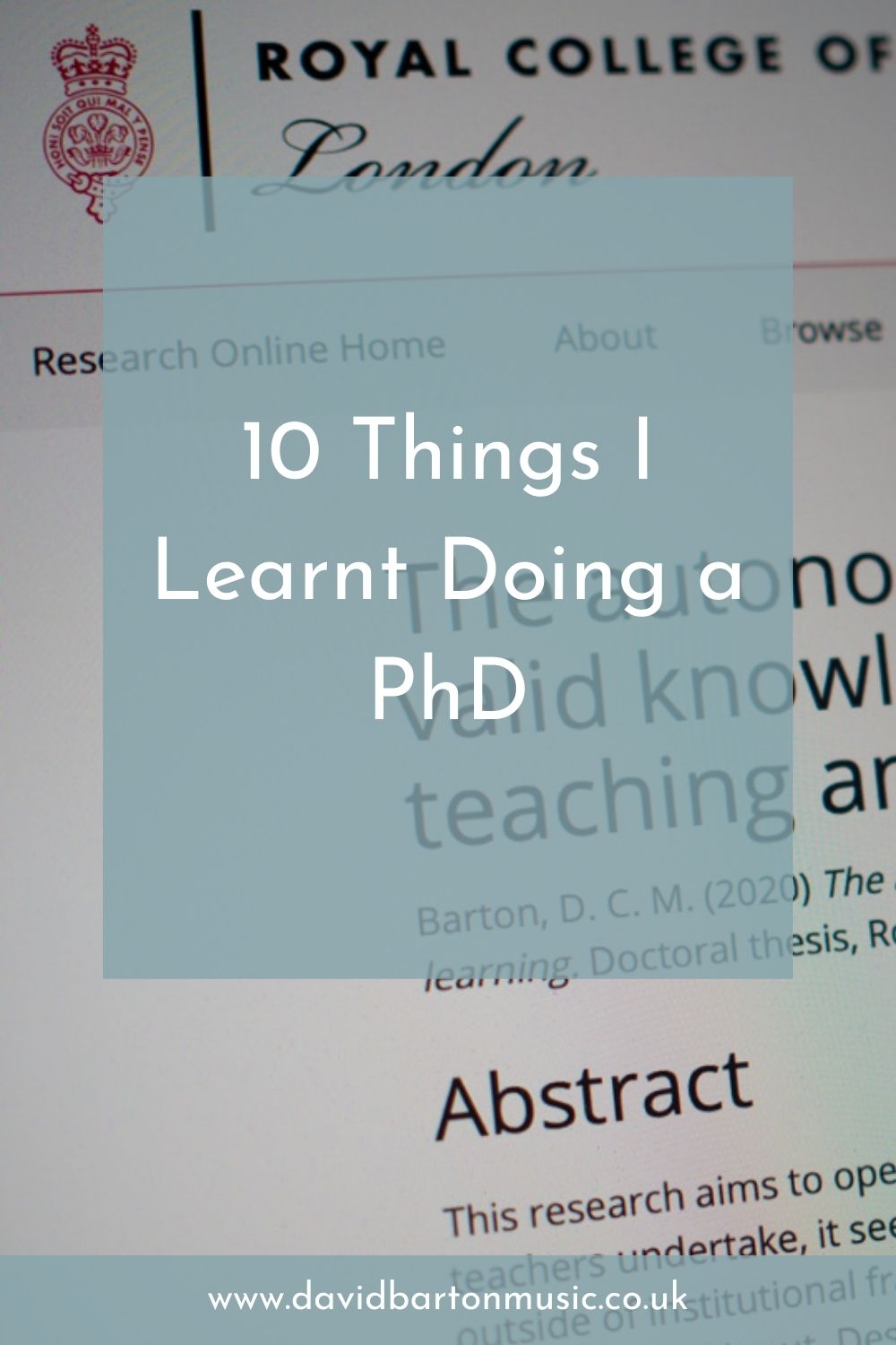 10 Things I Learnt Doing a PhD - Pinterest graphic.